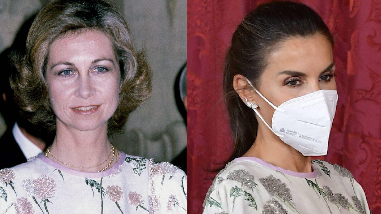 Las reinas Sofía y Letizia, con el vestido. (Getty/LP)