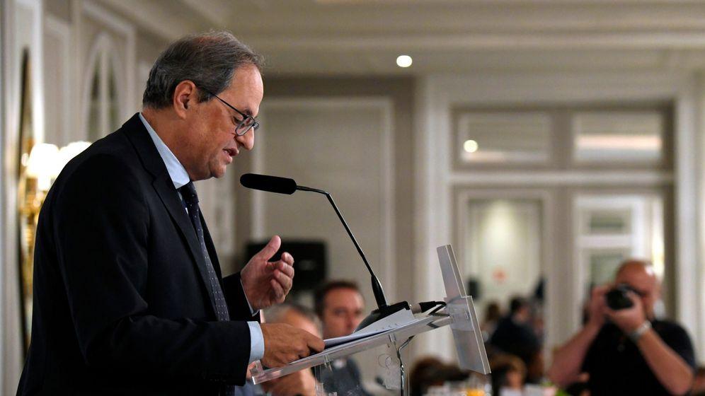 Foto: El presidente de la Generalitat, Quim Torra, en un desayuno este jueves en Madrid. (EFE)