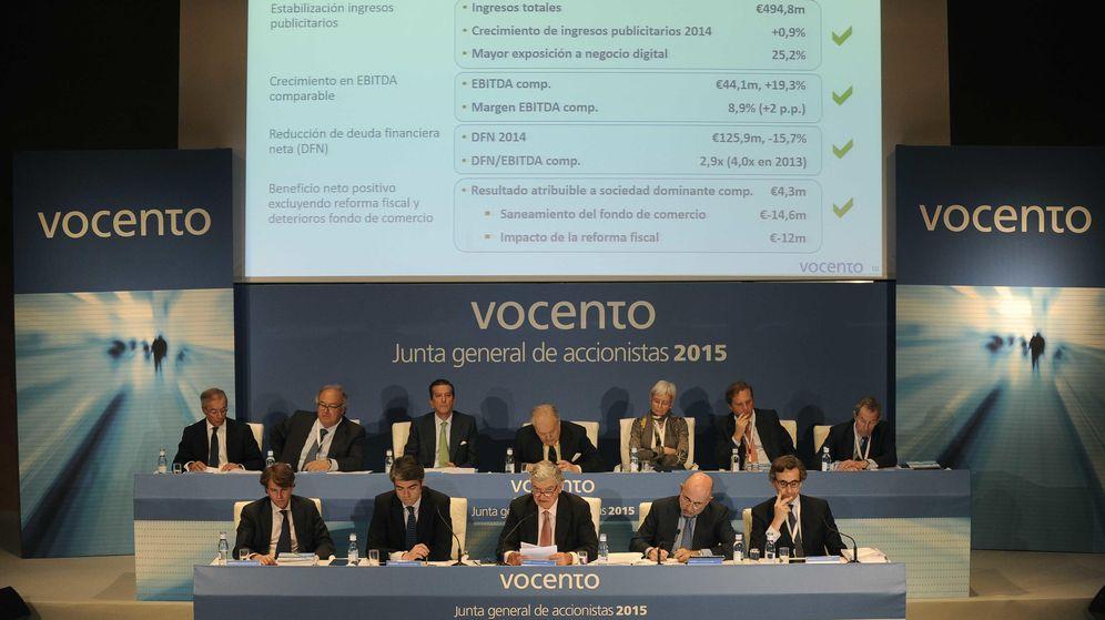 Foto: Santiago Bergareche y Luis Enríquez en la Junta General de Accionistas de Vocento. (EC)