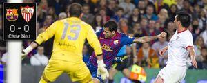 'San Javi Varas' da un punto al Sevilla con un verdadero recital de paradas al Barça