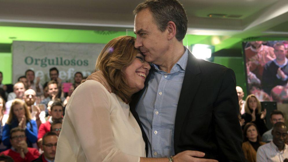 Foto: La secretaria general del PSOE andaluz y presidenta de la Junta, Susana Díaz, y el expresidente del Gobierno José Luis Rodríguez Zapatero. (Efe)
