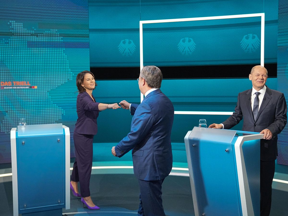 Foto: Primer debate a tres entre los candidatos a la cancillería alemana de Los Verdes, CDU/CSU y SPD. (Reuters)