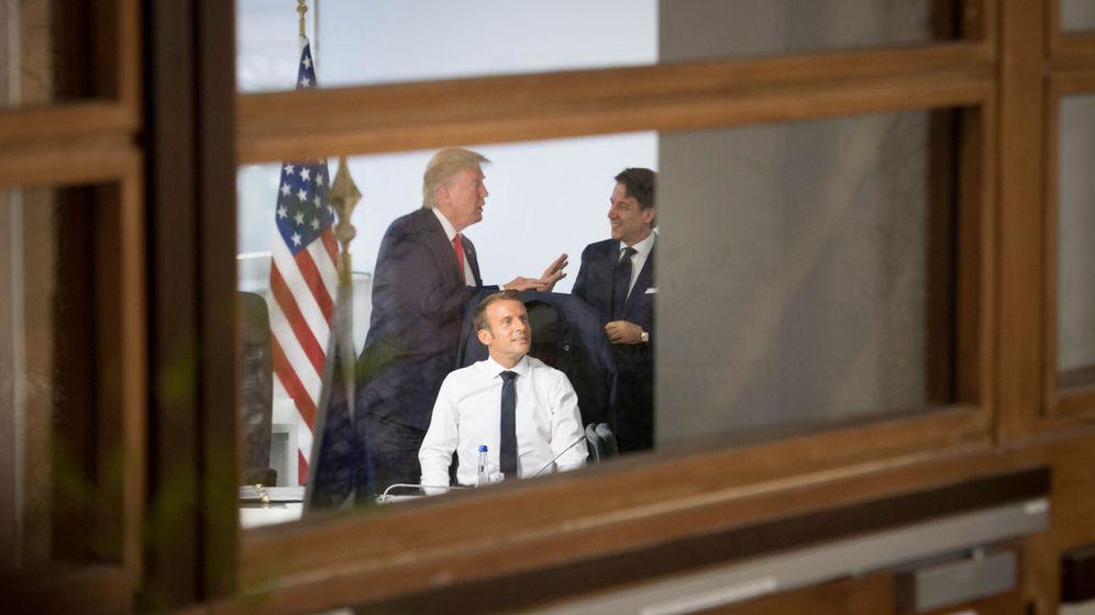 Foto: Donald Trump, Emmanuel Macron y Giuseppe Conte. (Reuters)