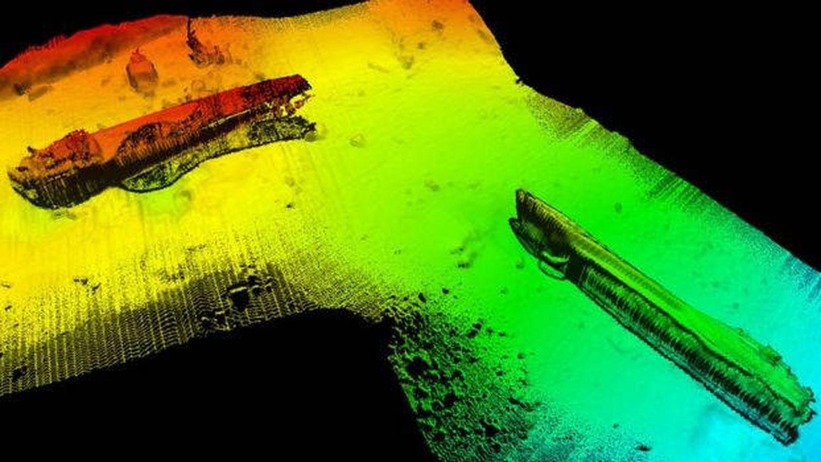 Foto: Así está el submarino, a 150 metros de profundidad (Foto: kystverket.no)