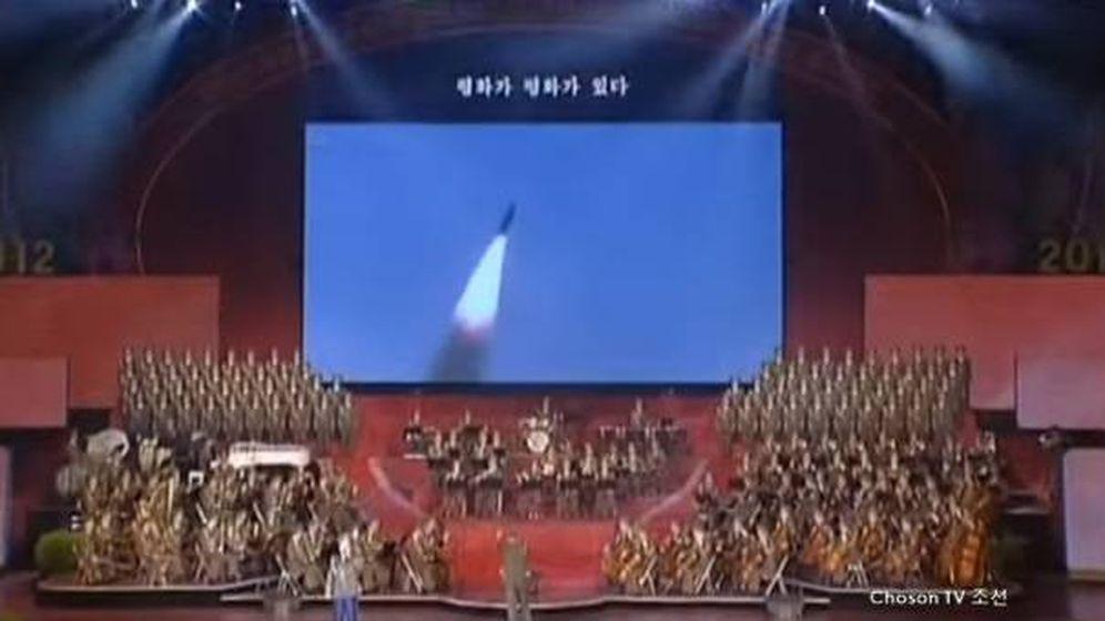 Foto: Recreación de un misil lanzado desde Corea del Norte a Estados Unidos