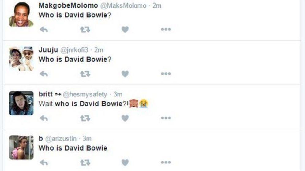 Foto: Captura de pantalla de las preguntas de algunos usuarios sobre quién es David Bowie
