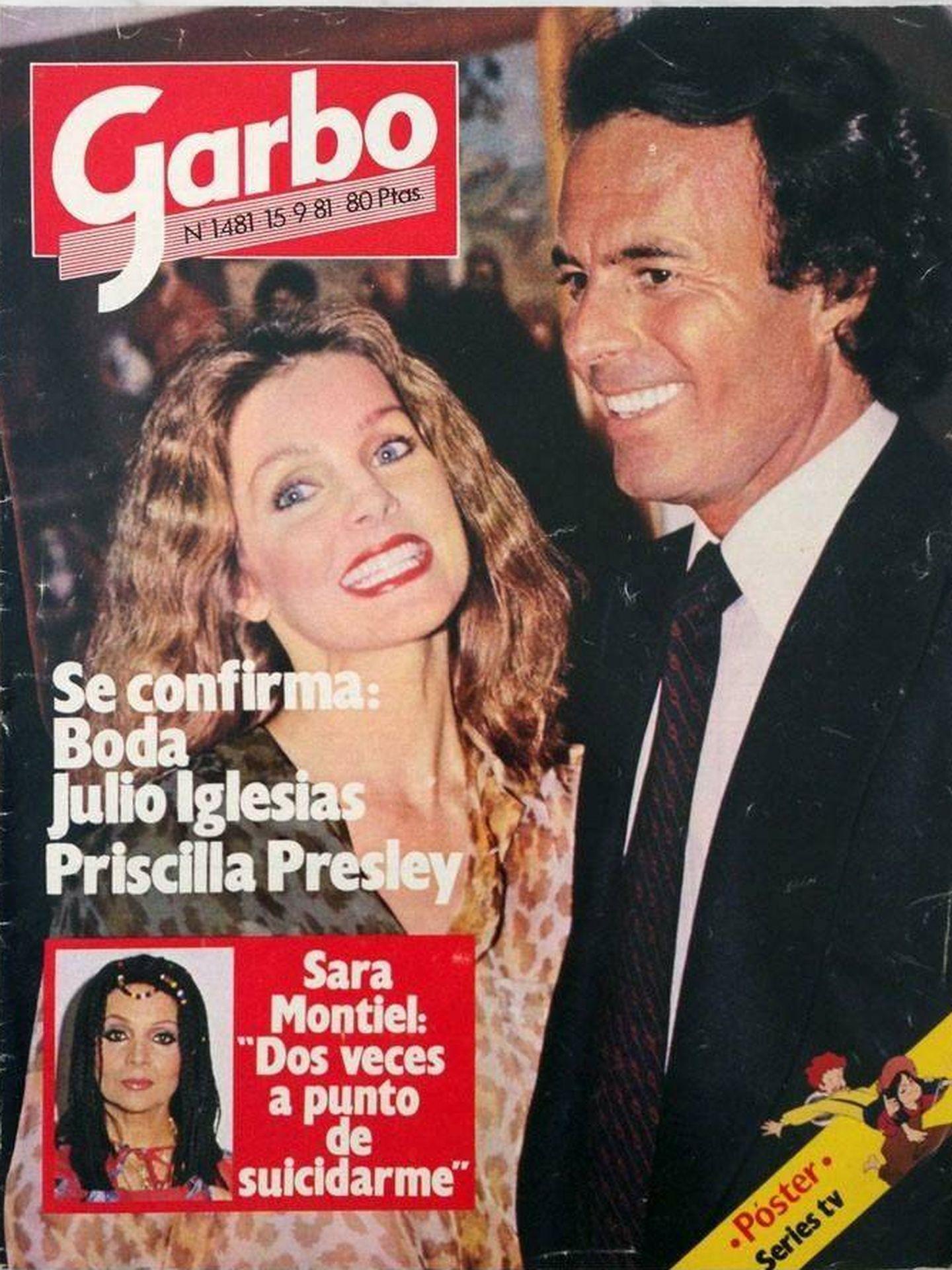 Priscilla y Julio, en la portada de una revista de la época. ('Garbo')