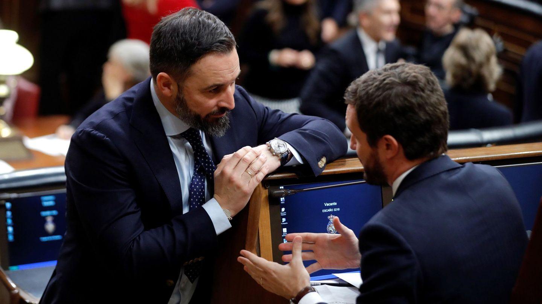 El presidente del Partido Popular, Pablo Casado, y el líder de Vox, Santiago Abascal. (EFE)