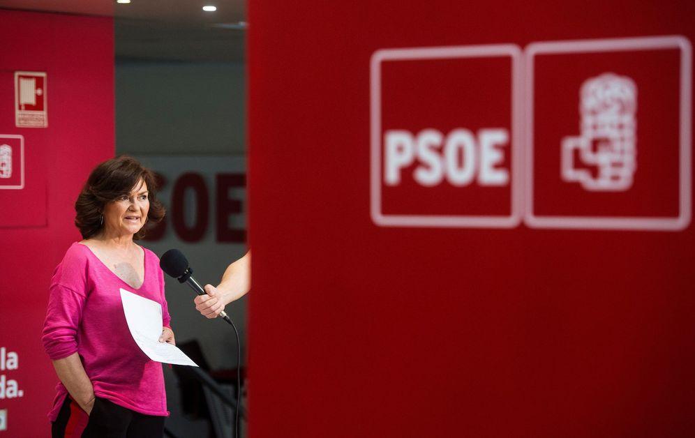 Foto: Carmen Calvo, nueva vicepresidenta y ministra de Igualdad, el pasado 20 de mayo en Ferraz. (EFE)