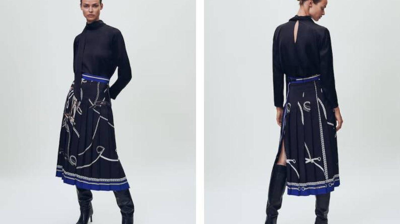 Look de camisa y falda midi de Massimo Dutti. (Cortesía)