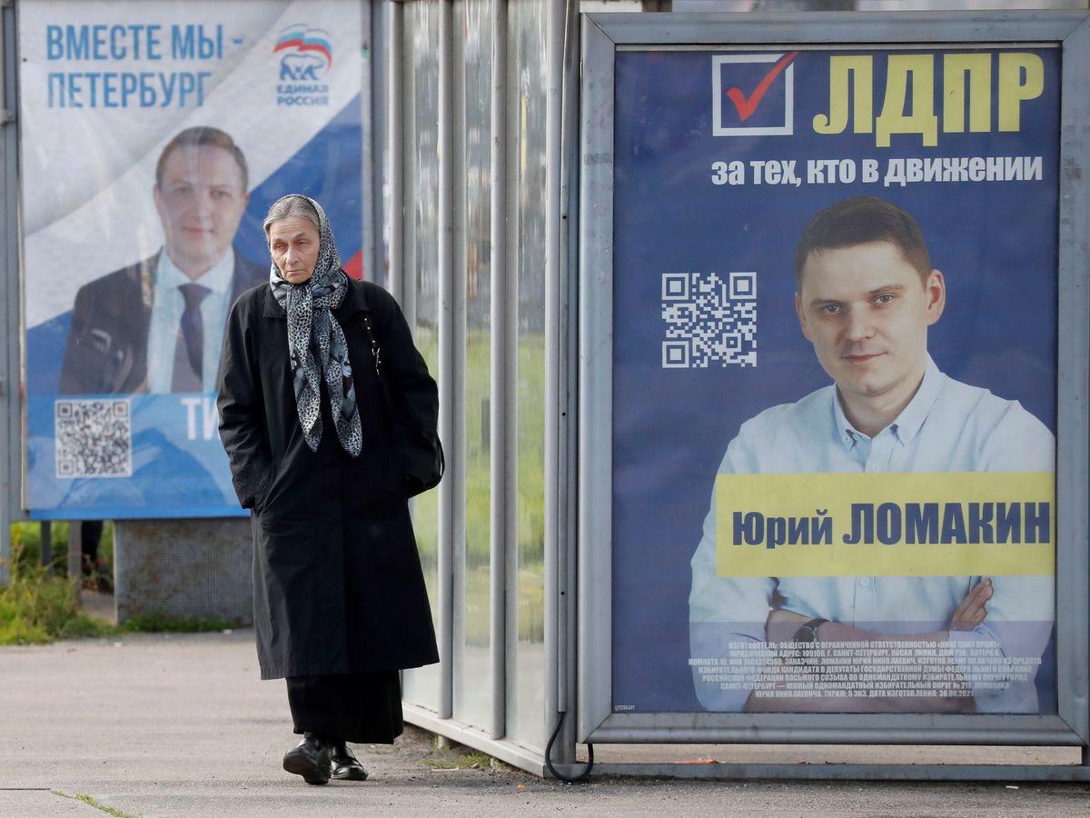 Foto: Cartel de elecciones a la Duma. (EFE)