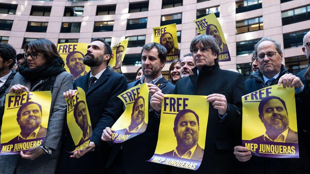 Foto: Torrent, Comín, Puigdemont y Torra, el pasado 13 de enero en Estrasburgo. (EFE)