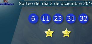 Post de Resultados del sorteo del Euromillones del 2 de diciembre:  6, 11, 23, 31, 32
