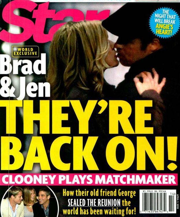 Foto: Jennifer Aniston y Brad Pitt en la portada de la revista 'Star'.