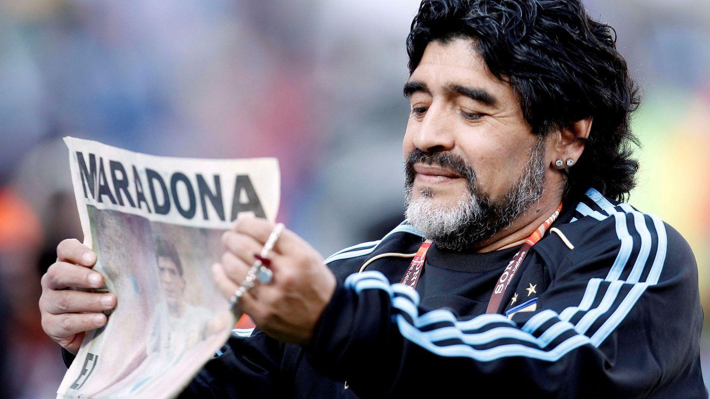 Maradona, en el Mundial de Sudáfrica. (Action Images)