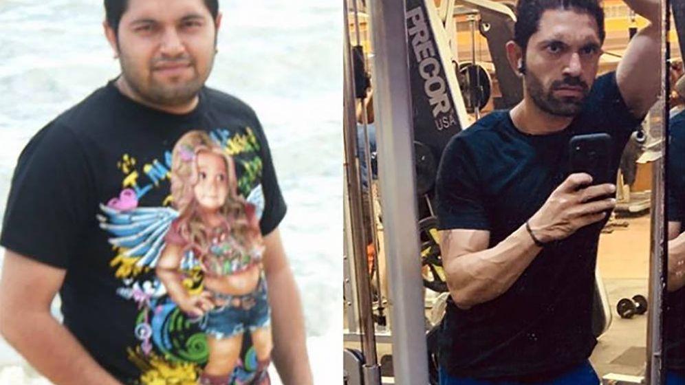 Foto: Jatin Dewan, antes y después de su adelgazamiento. Foto: Instagram