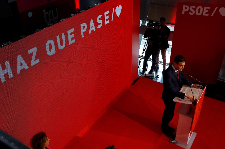 Foto: Pedro Sánchez, en la presentación de la campaña del PSOE para las generales del 28-A, este 2 de abril en el WiZink Center de Madrid. (EFE)