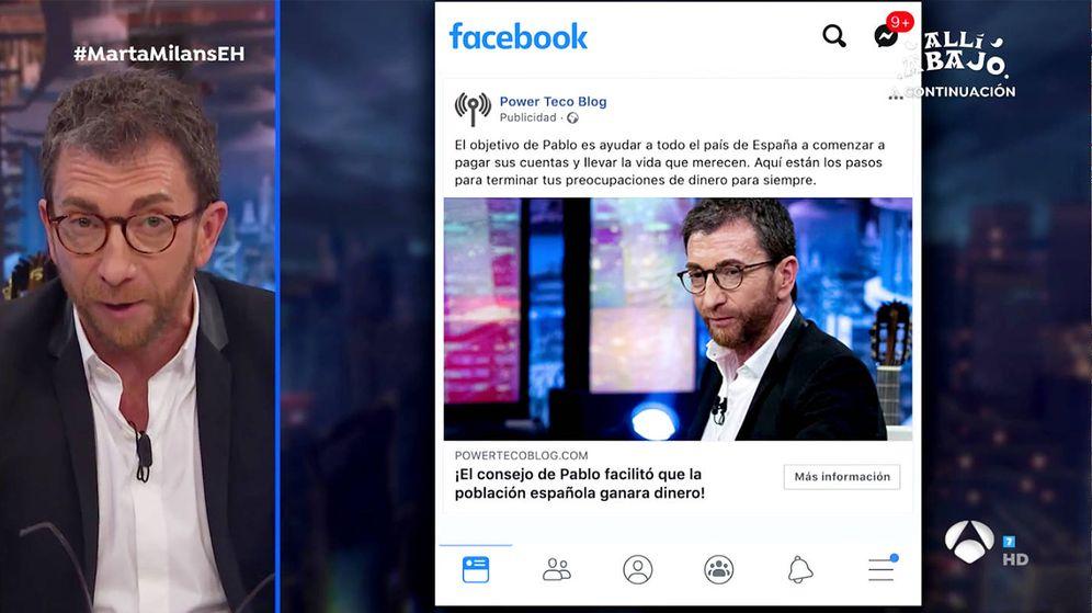 Foto: Pablo Motos y el anuncio fraudulento que aparece en Facebook. (Atresmedia)