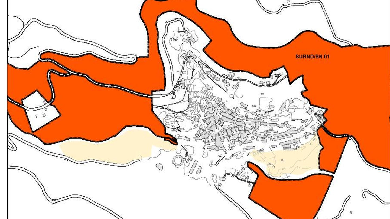 Mapa de Guisando, en rojo todo el suelo urbanizable del municipio. (Junta CyL)