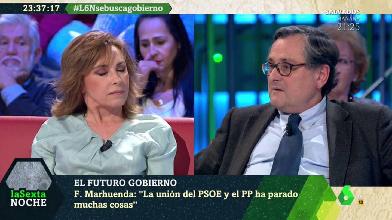 Angélica Rubio y Marhuenda discutiendo en 'La Sexta noche'. (Atresmedia).