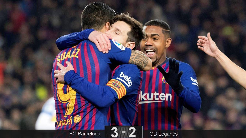 Unos minutos de Messi (y un VAR favorable) valen para que el Barcelona golpee al Leganés