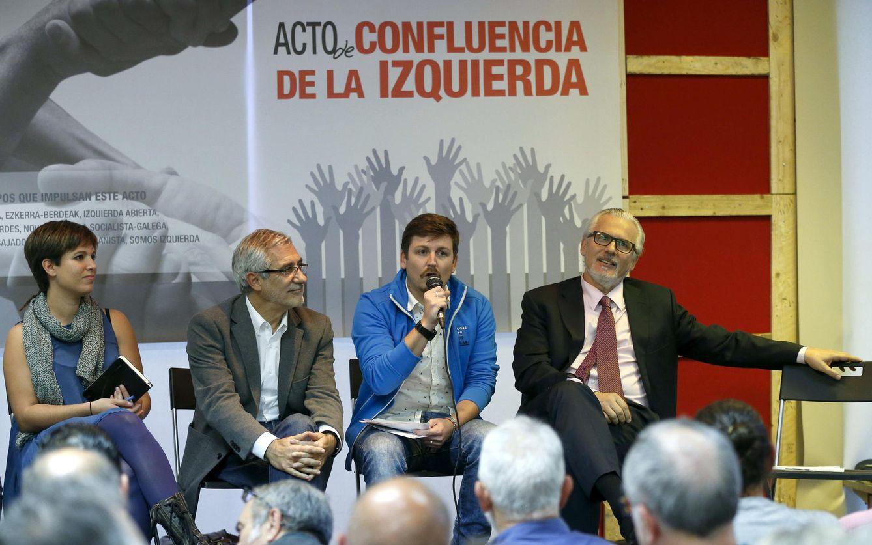Beatriz Talegón, Gaspar Llamazares, Tasio Oliver y Baltasar Garzón, el pasado 30 de septiembre en Madrid. (EFE)