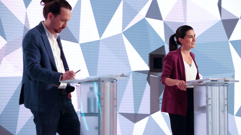Los candidatos a la presidencia de la Comunidad de Madrid Pablo Iglesias y Rocío Monasterio. (EFE)