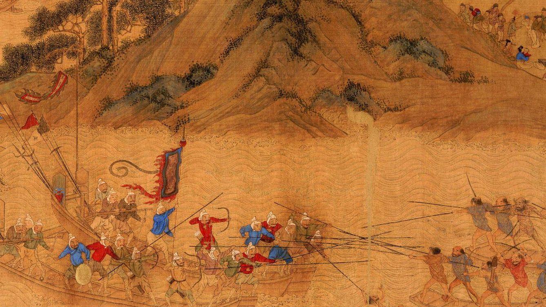 Foto: Españoles y samuráis se enfrentaron en una dura batalla cerca de Cagayán, río que da nombre a una región en las costas de Luzón. (Grabado japonés 1857)