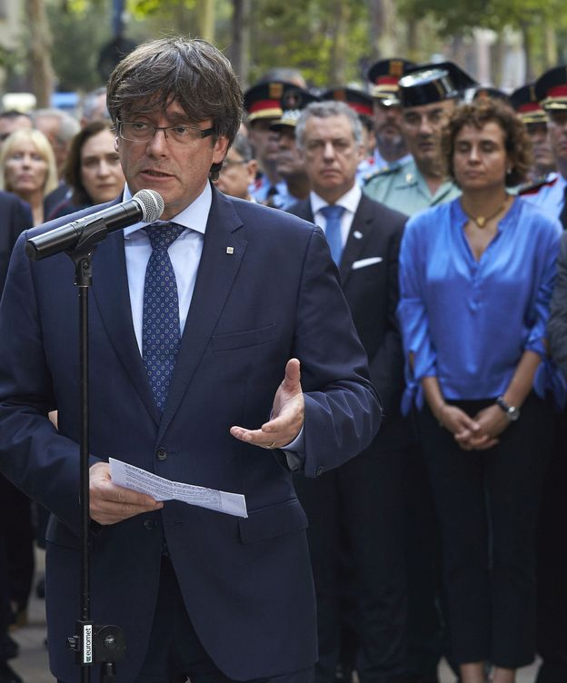 Foto: Carles Puigdemont, durante su intervención en el acto en memoria de la víctimas de terrorismo. (EFE)