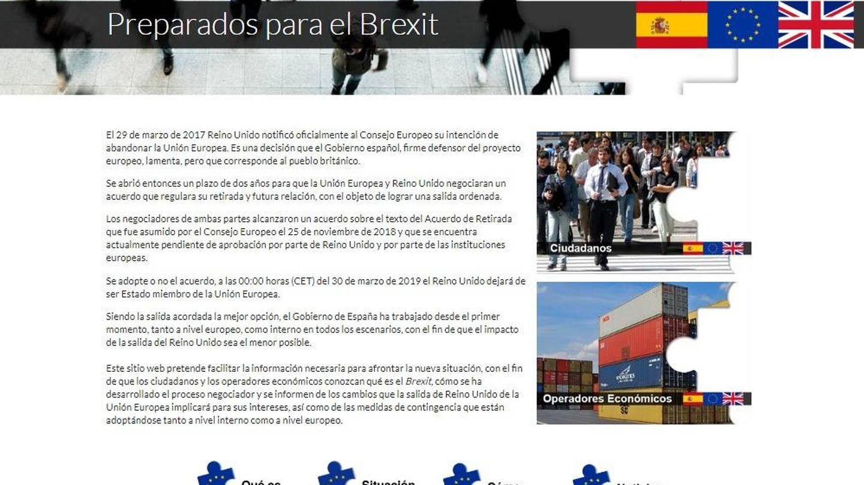 Portada del espacio web alojado en La Moncloa para informar a ciudadanos y empresas del Brexit. (EC)