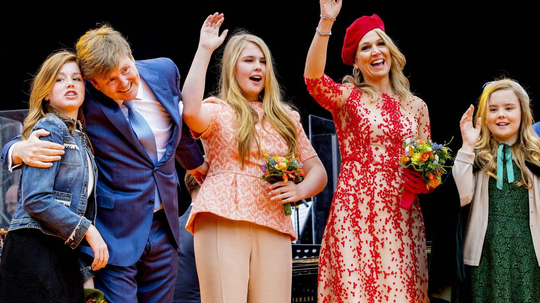 La familia real de Holanda celebra el Día del Rey de 2018. (Getty)