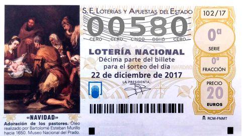 El número 00.580 se lleva el 6.º quinto de la Lotería de Navidad: 6.000€ al décimo