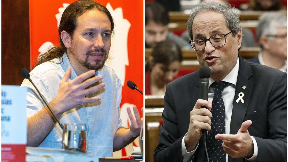 Foto: Pablo Iglesias y Quim Torra. (El Confidencial)