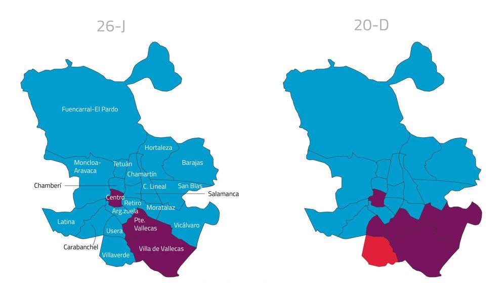 Foto: Resultados en los distritos de Madrid en las elecciones del 26J. (Daniele Grasso)