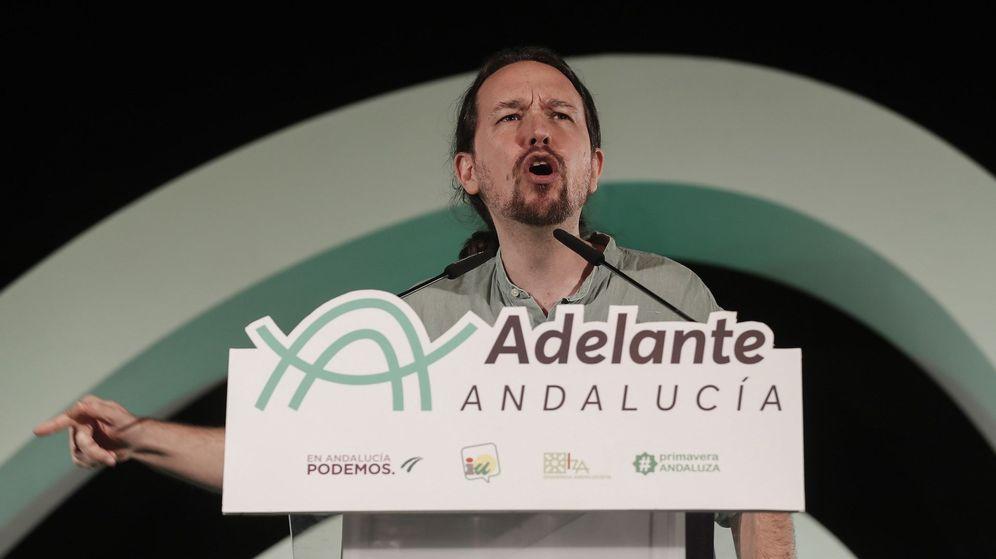 Foto: El líder de Podemos, Pablo Iglesias, durante su intervención en un acto electoral de Adelante Andalucía el pasado sábado en Sevilla. (EFE)