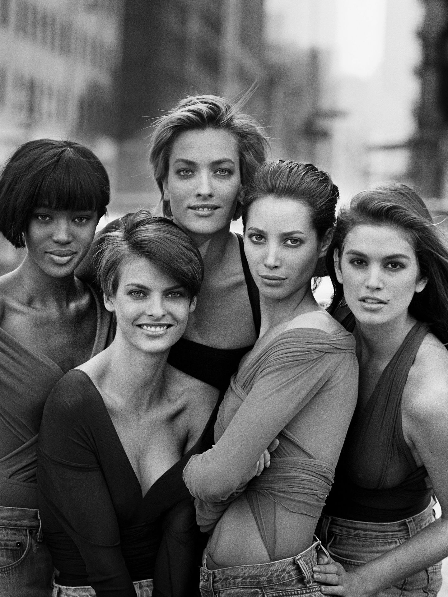 Naomi Campbell, Linda Evangelista, Tatjana Patitz, Christy Turlington y Cindy Crawford, fotografiadas por Peter Lindbergh. (EFE)