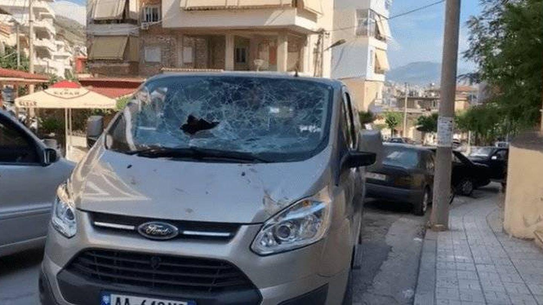 Estado en que quedó la furgoneta que trasladaba a Galdón. (RTV Ora)