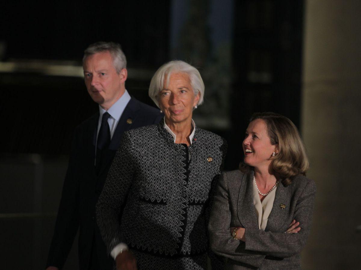 Foto: La presidenta del BCE, Christine Lagarde, junto a la vicepresidenta primera y ministra de Asuntos Económicos, Nadia Calviño. (EFE)