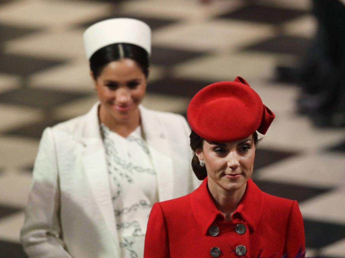 Foto: Kate Middleton y Meghan Markle, en un servicio religioso por el Día de la Commonwealth. (Getty)
