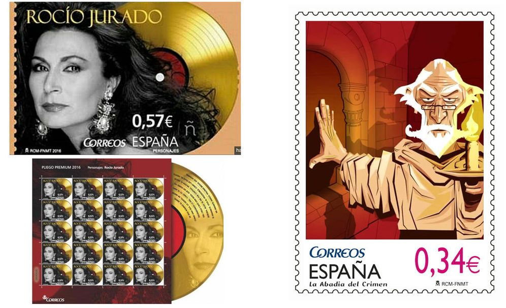 Foto: A la izquierda, el sello de Rocío Jurado. A la derecha, el propuesto para 'La Abadía del Crimen'. (El Confidencial)