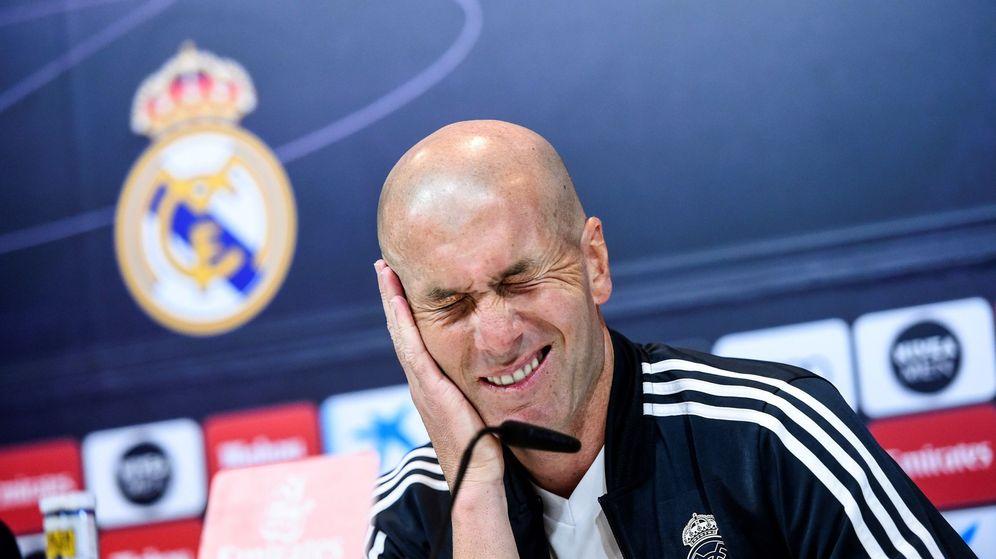 Foto: Zidane en la rueda de prensa de este sábado. (EFE)