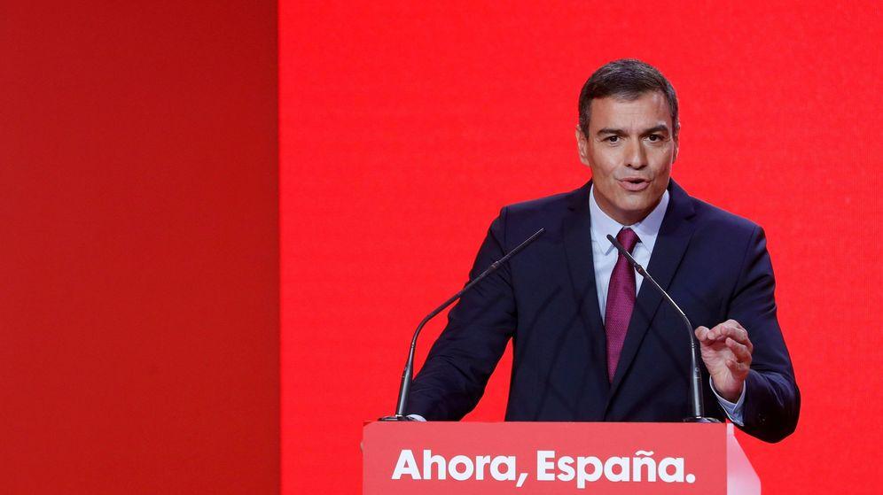 Foto: El secretario general del PSOE y presidente del Gobierno en funciones, Pedro Sánchez, durante la presentación de la campaña electoral de los socialistas. (EFE)