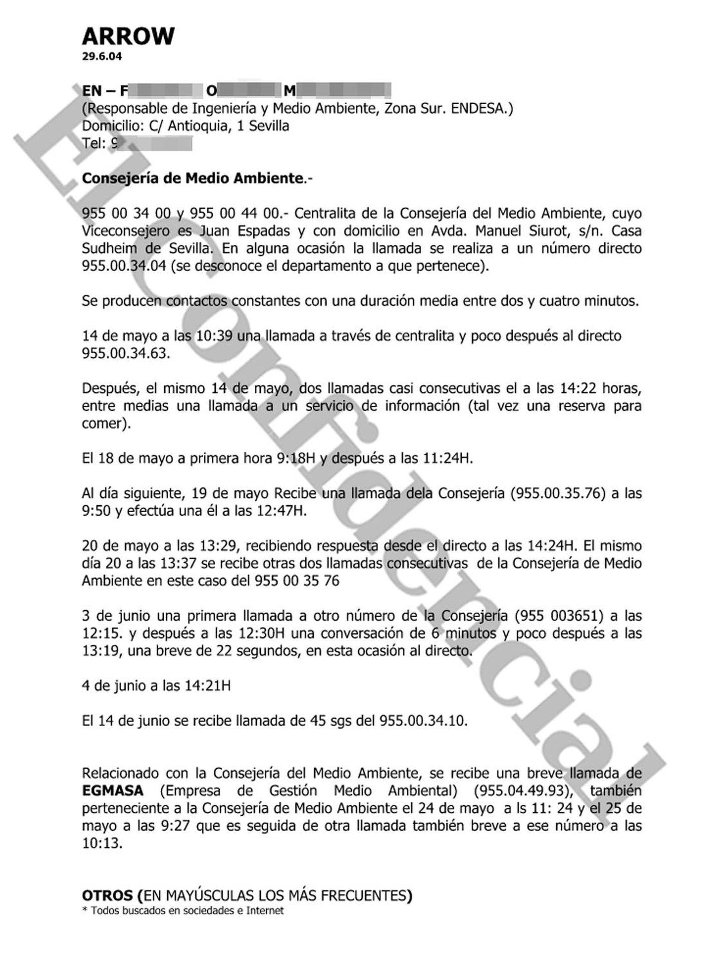 Primera página del informe de la llamada del directivo. (Pinche para ampliar)