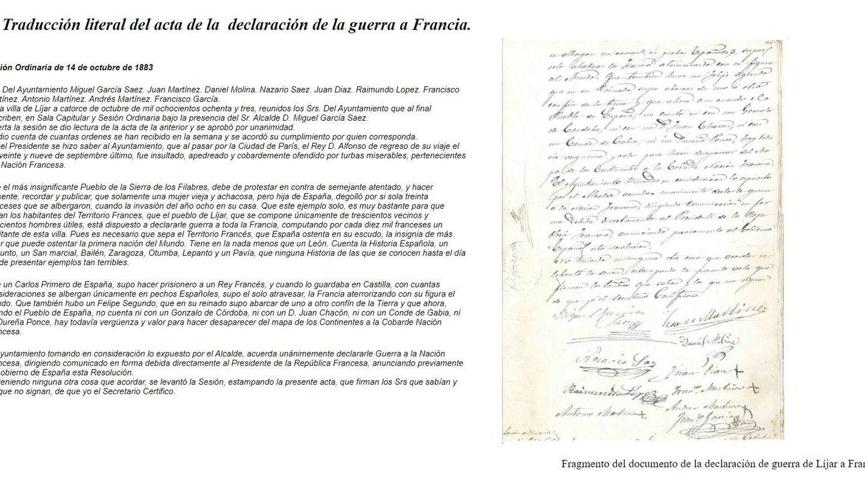 Documento de la declaración de guerra de Líjar a Francia. (Diputación de Almería)