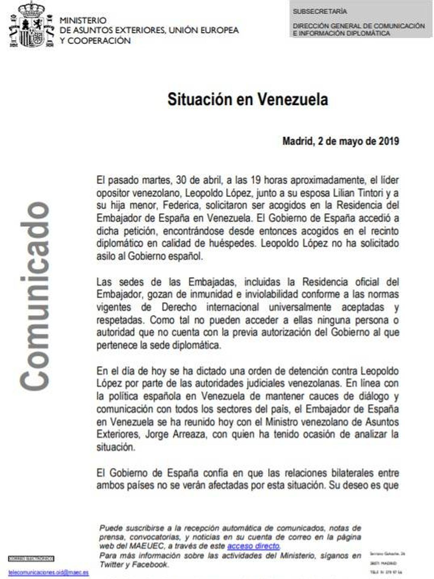 Consulte aquí en PDF el comunicado de Exteriores sobre la orden de captura de Leopoldo López.