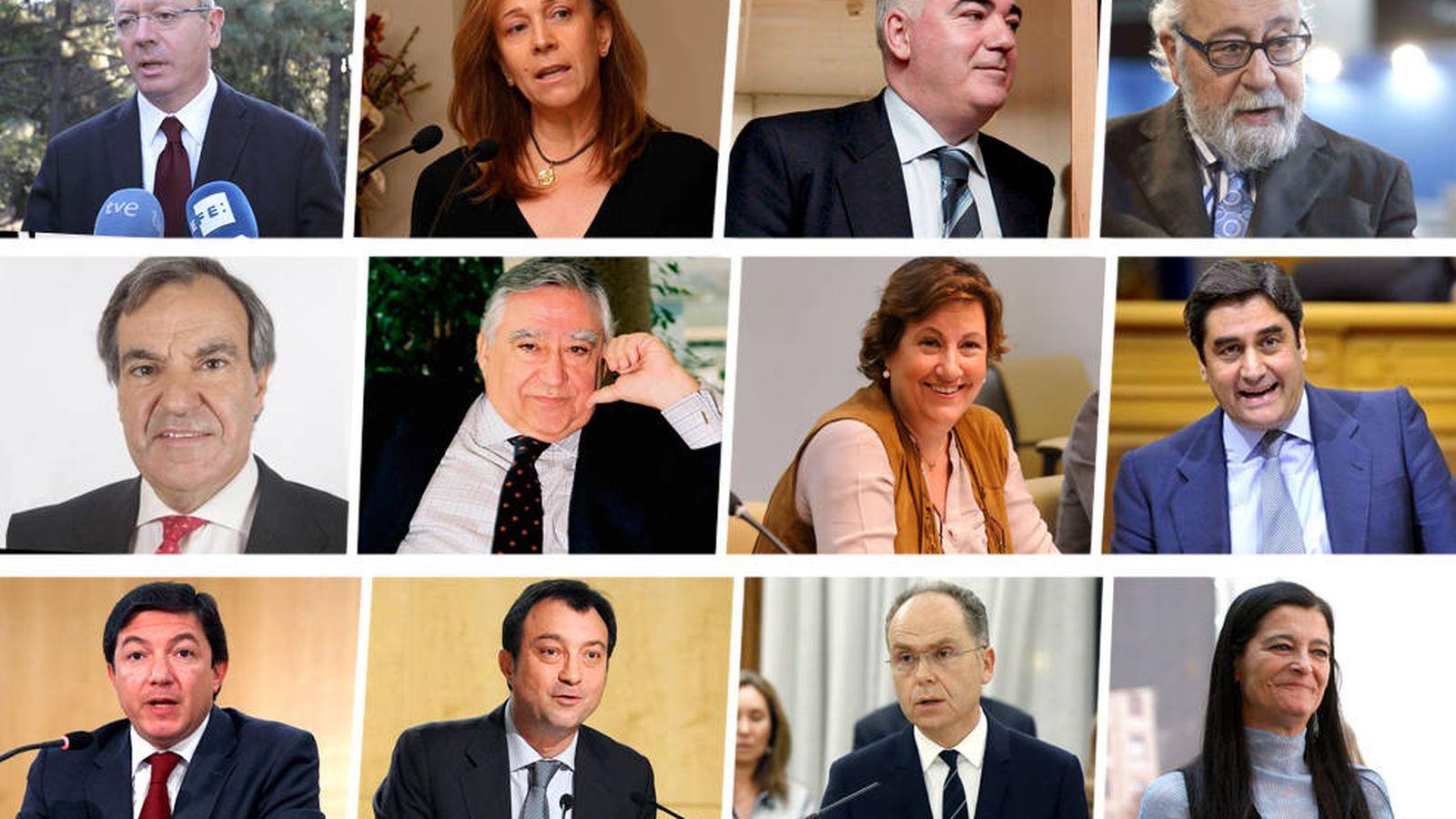 Foto: De izq. a derecha y de arriba abajo: Ruiz-Gallardón, P. Martínez, C. Mayor Oreja, Cortés, Peral, Blázquez, Paz González, Echániz, Calvo, Cobo, Bravo y Moreno.