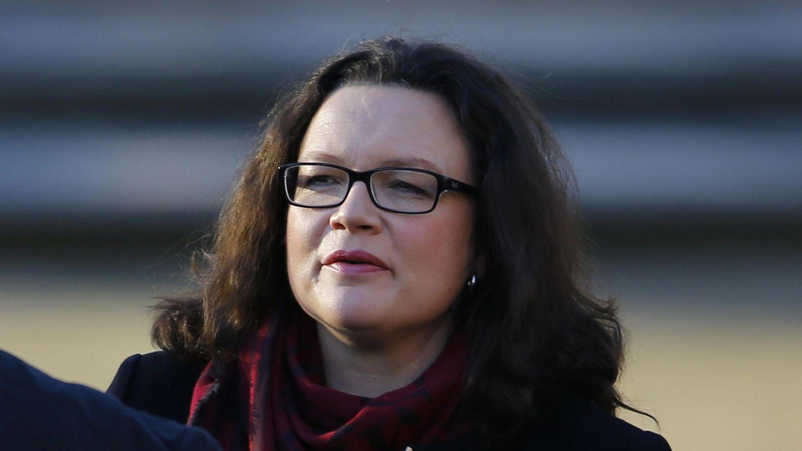 Foto: La ministra alemana de Trabajo, Andrea Nahles (Reuters)