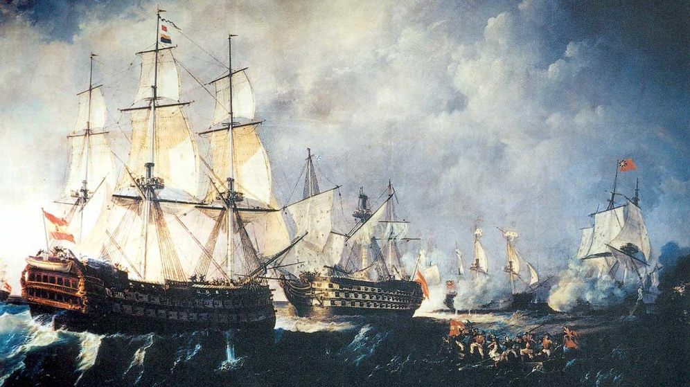 Foto: El Infante Don Pelayo acude al rescate del Santísima Trinidad en la Batalla del Cabo de San Vicente del 14 de febrero de 1797.