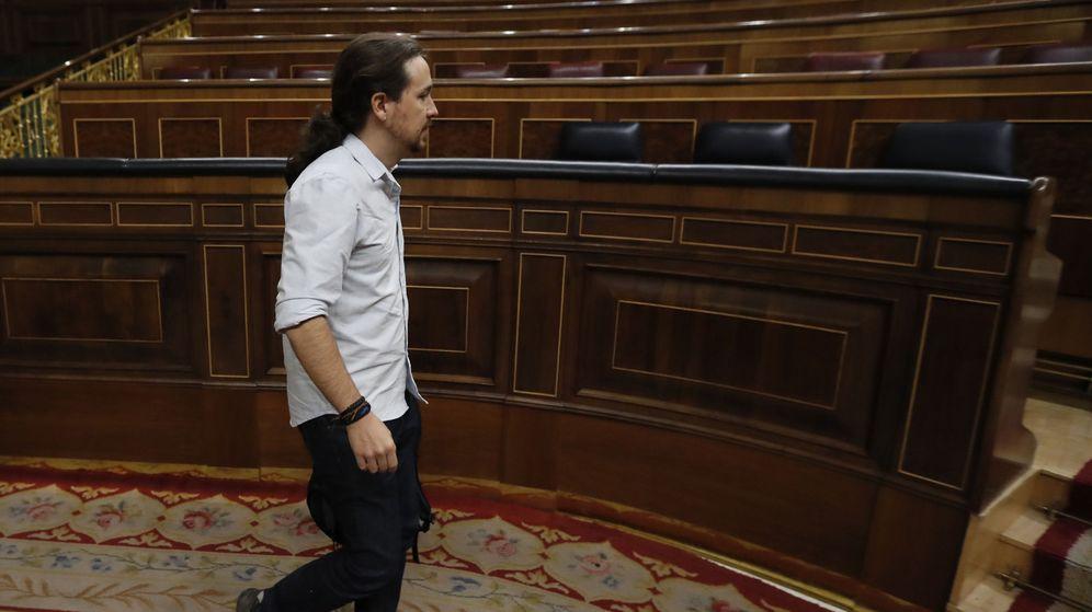 Foto: Pablo Iglesias durante la segunda jornada de investidura en el Congreso de los Diputados. (EFE)