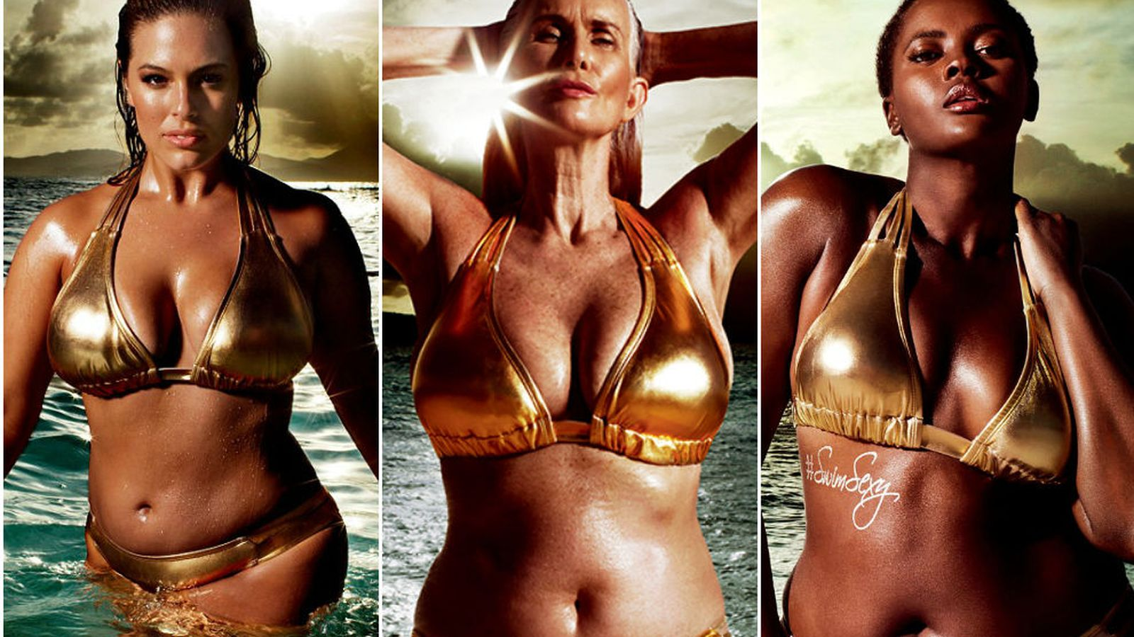 Foto: Ashley Graham, Nicola Griffin y Philomena Kwao (Swimsuits for all)
